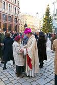 Bishop Franz Scharl is praying for the unborn child — Stock Photo