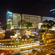 Cars passing the Salisbury road by night in kowloon, Hong Kong - Stock Photo
