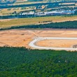 Aerial of new Runway under construction  at airport Rhein-Main - Stock Photo