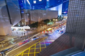 Cars passing the Salisbury road by night in kowloon, Hong Kong — Stock Photo