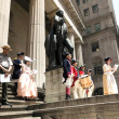 Постер, плакат: Ceremony for declaration of independence in old costumes takes p