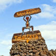 El diabolo sign for national parc Timanfaya in Lanzarote - Stock Photo