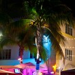 Night view at Ocean drive on in Miami Beach in the art deco dist — Stock Photo