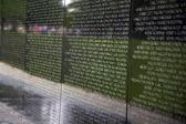 Names of Vietnam war casualties on Vietnam War Veterans Memorial — Stock Photo