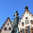 statue of lady justice in front of the romer in frankfurt - germ — Stock Photo