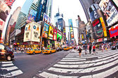 Times Square, featured with Broadway Theaters and huge number of LED signs, — Stock Photo