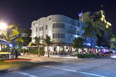 Night view at Ocean drive in Miami South art deco district — Stock Photo
