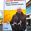 Artists have a show on ropes  to promote a Book of Jochen schwei — Zdjęcie stockowe