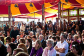 Spectators are listening the authors in the reading tent — Stock Photo