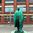 Statue of founder of the car factory OPEL - GM, Adam von Opel - Stock Photo