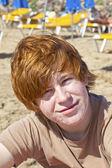 Cute boy at the beach — Stock Photo