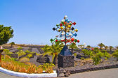 Entrance and sculpure of an artist, Lanzarote,Spain — Stock Photo