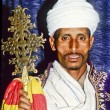 Coptic priest in Ethiopia in his church - Stock Photo