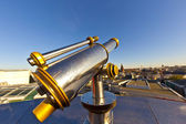 Telescope on platform with view to Frankfurt — Stockfoto