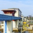 Watergate griesheim at river Main - Stock Photo