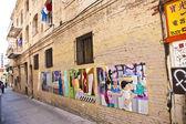 Muurschildering in adobe muur downtown san franzisco — Stockfoto