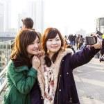 turisti giapponesi fare autoritratti — Foto Stock
