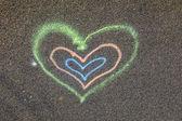 καρδιά ζωγραφισμένα στο δρόμο — Φωτογραφία Αρχείου