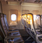 восход солнца внутри кабины современных самолетов — Стоковое фото