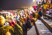 In the night in Varanasi in religious washing ceremony — Stock Photo