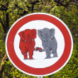 Traffic sign elefants in Love - Stockfoto