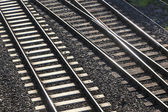 Railway tracks with crossing — Stock Photo