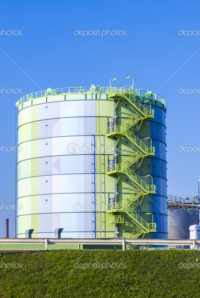 Silo in Industry Park in beautiful landscape near Frankfurt  Stock Photo #9673110