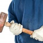 Man holding sledgehammer — Stock Photo