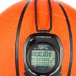 Basketball and stopwatch — Stock Photo