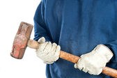 Man holding sledgehammer — Stock Photo