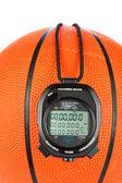 Basketball and stopwatch — Stock Photo