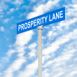Prosperity street sign against sky — Stock Photo