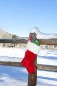 Vánoční punčocha na plot — Stock fotografie