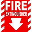 Fire extinguisher sign - Stock Photo