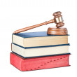 Books and gavel isolated on white - Stock Photo