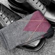 Black leather shoes with Argyle socks — Stock Photo