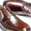 Brown leather dress shoes - Stock Photo