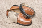 Tan leather dress shoes — Stock Photo