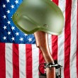 Rifle and helmet memorial — Stock Photo
