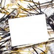 New Years party horns with blank invitation card — Stock Photo