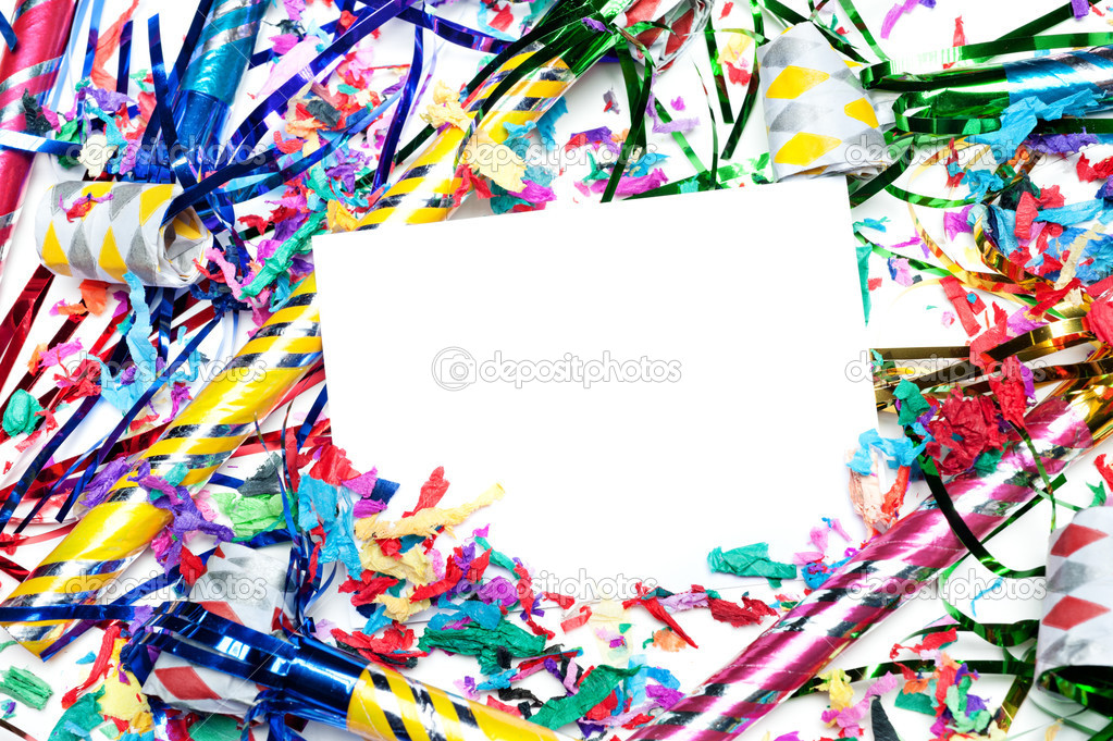 A blank party invitation with party blow horns and streamers.  Card is blank for placement of copy. — Stock Photo #9336883