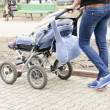 Woman and pram - Stock Photo