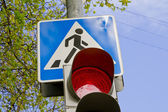Crosswalk and traffic light — Stock Photo