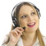 Blond girl with headphones — Stock Photo