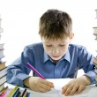 Boy making the homework — Stock Photo