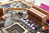 Copper cooling system on the PC motherboard — Stock Photo