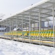 Football stadium in winter — Stock Photo