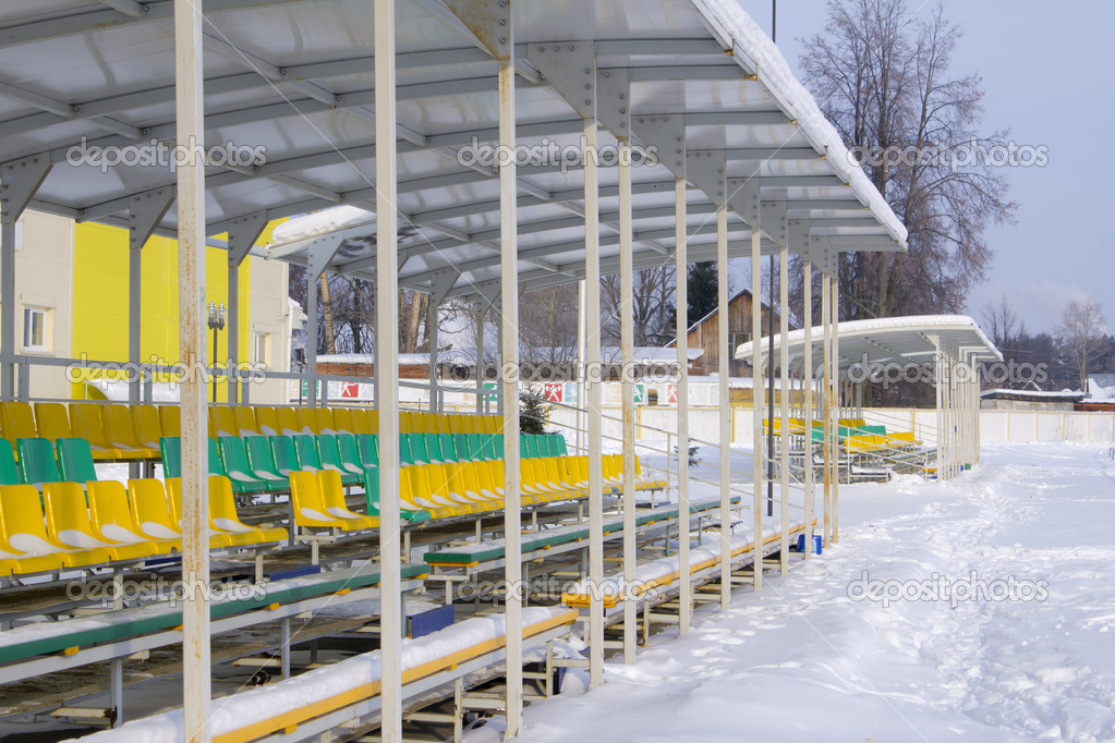 Football stadium in winter — Stock Photo #8984836