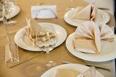 Wine glasses set at restaurant table — Stock Photo