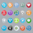 30 glossy oval social icons - Stock Vector
